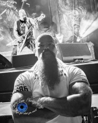 Separated at birth? Slayer's Kerry King shredding behind his doppelganger Scott Long (one of the great guys who protect us photographers in the pit) as Slayer performs in Saint Louis at Hollywood Casino Amphitheatre. Photo by Sean Derrick/Thyrd Eye Photography.