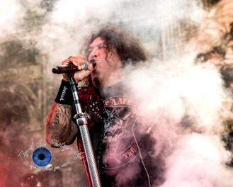 Chuck Billy of Testament performing in Saint Louis at Hollywood Casino Amphitheatre. Photo by Sean Derrick/Thyrd Eye Photography.
