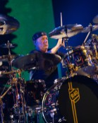 Neil Peart performing with Rush at Scottrade Center in 2015. Photo by Sean Derrick/Thyrd Eye Photography.