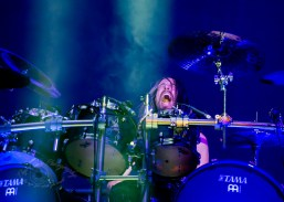 Dirk Verbeuren of Megadeth performing at Hollywood Casino Amphitheatre in St. Louis. Photo by Sean Derrick/Thyrd Eye Photography.