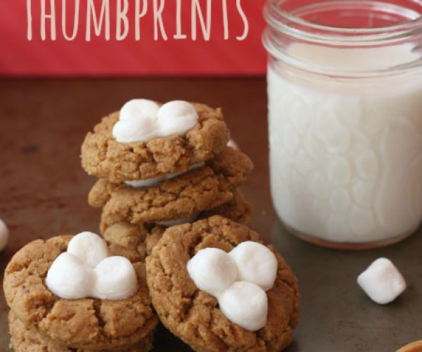 Flourless Fluffernutter Thumbprint Cookies