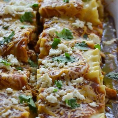 Chicken Enchilada Lasagna Rolls