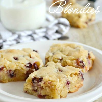 White Chocolate Pomegranate Blondies + Giveaway