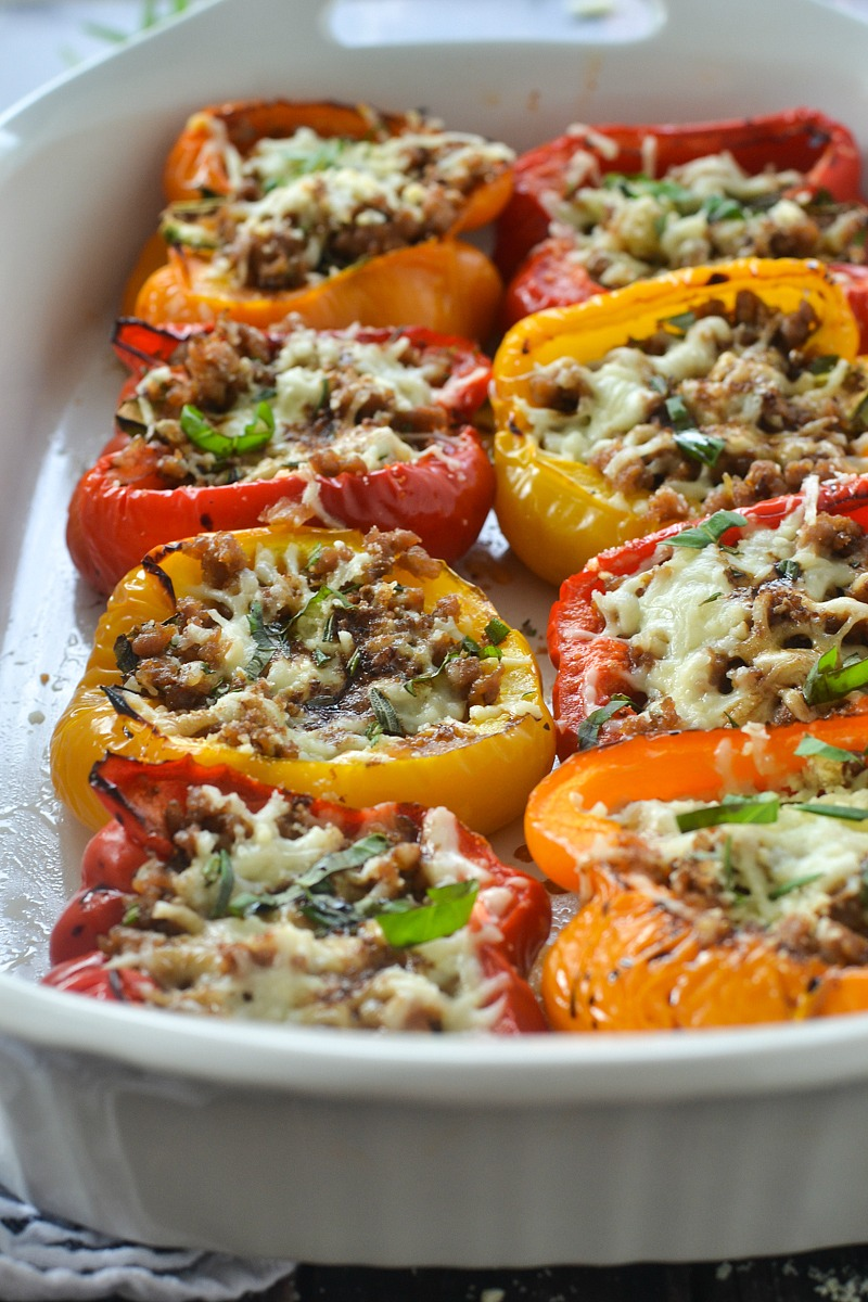 Roasted Stuffed Peppers with Italian Sausage and Balsamic Glaze | www.motherthyme.com
