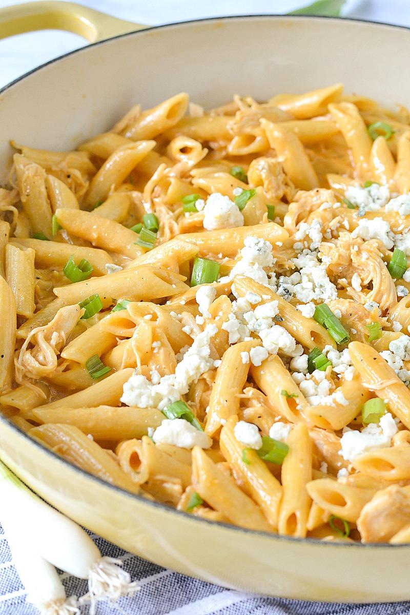 One-Pot Creamy Buffalo Pasta | www.motherthyme.com