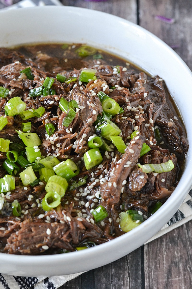 Crock-Pot® Slow Cooker Asian Style Shredded Beef #crockpotrecipes #ad