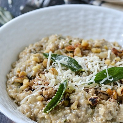 Savory Garlic, Herb and Asiago Steel Cut Oats Risotto