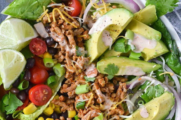 Loaded Taco Salad with Salsa Ranch Dressing