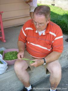 Dad processing beans