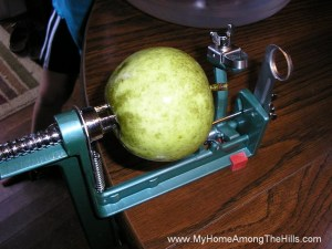 Apple on the peeler