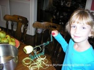 Abigail peeling apples