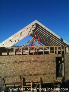 The gable end of our small cabin before I framed it in