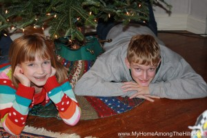 Kids under the Christmas tree - a Christmas tradition