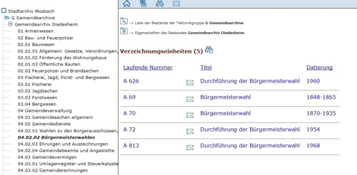 Archiv Onlinerecherche Screenshot