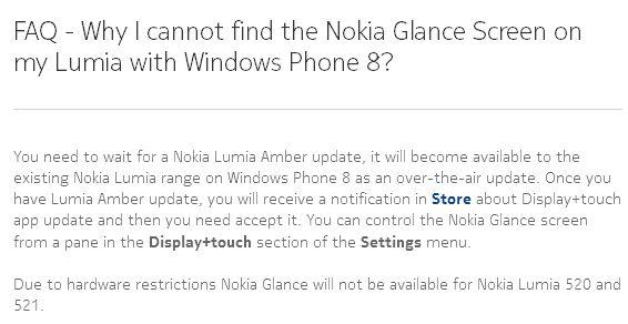 Nokia US Glance sceen faq
