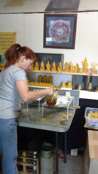 Debbie make bees wax candles