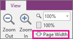 Page width OneNote Office 365