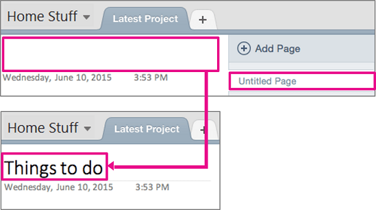 New page in OneNote Office 365 1