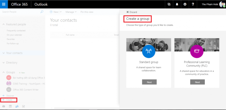 Creating group in People Office 365