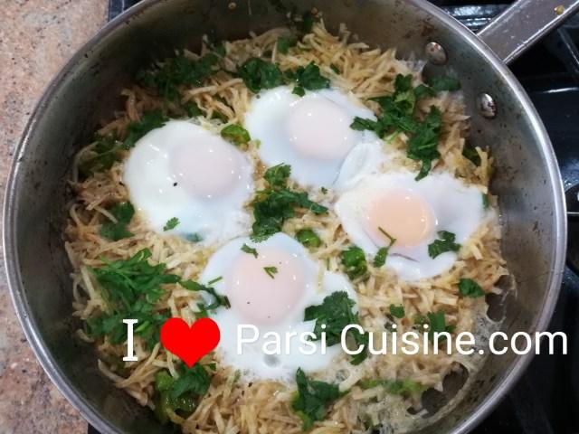 Eggs over Sali or Potatoes