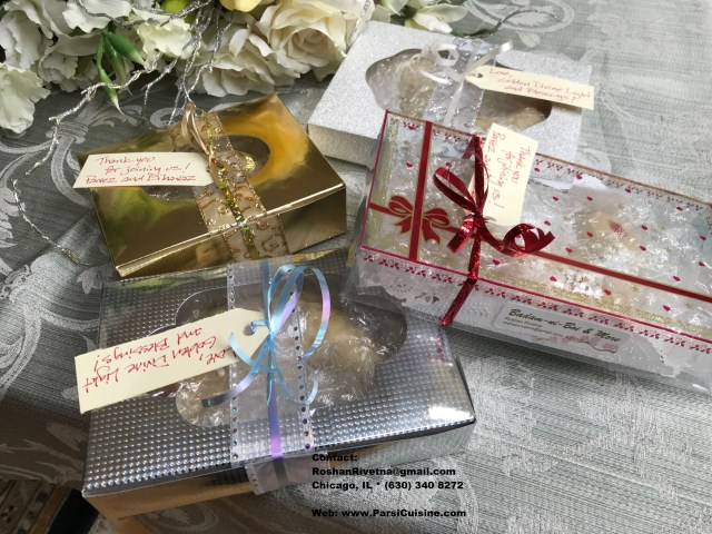 Assortment of gift boxes and gift trays. We put hand-written tags on each item.