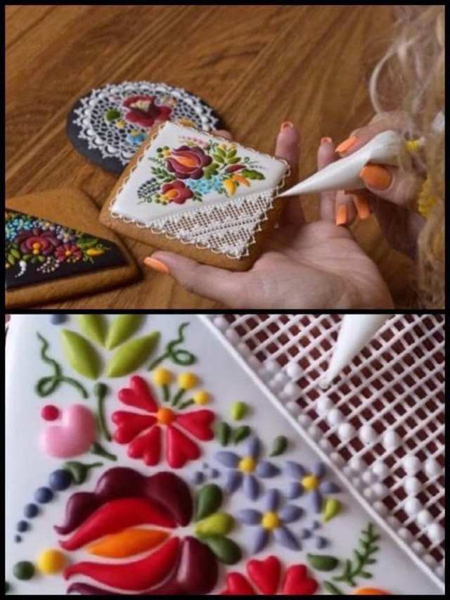 These are cookies made by a pastry chef and artist, Judit Czinkne Poor, in Hungary. Look at the amazing icing which looks like lace and embroidery...!