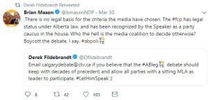Twitter - Fildebrandt Freedom Conservative Party April 4th televised leaders debate blocked 5