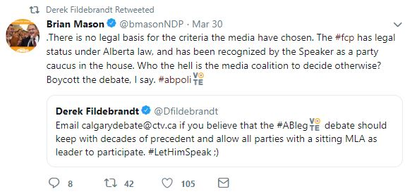 Twitter - Fildebrandt Freedom Conservative Party April 4th televised leaders debate blocked 5
