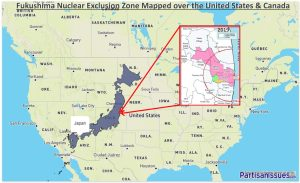 Fukushima Nuclear Exclusion Zone Mapped Over the United States and Canada - 2019