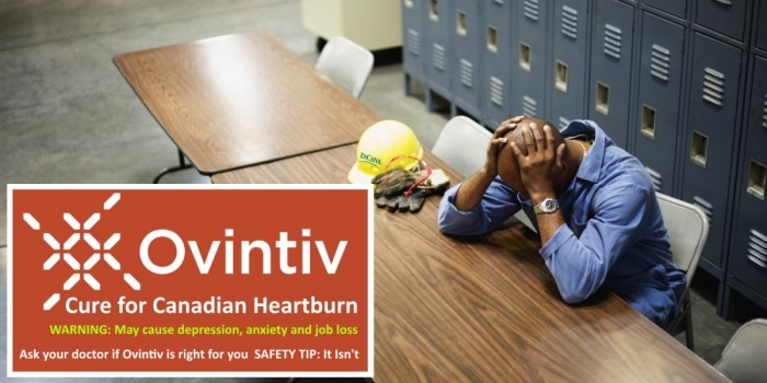 Encana Ovintiv Cure For Canadian Heartburn - oil worker with head in hands