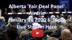 Alberta Aridrie fair deal panel Live Stream white blue red play button