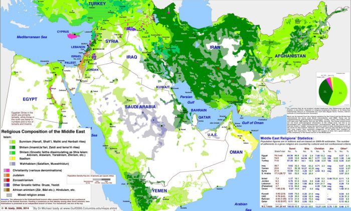 map of religions in the middle east - detailed