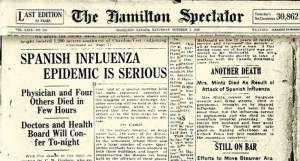 History of the Spanish Flu - Deaths in Hamilton Ontario Canada