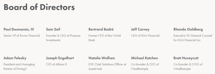 wealthsimple board of directors
