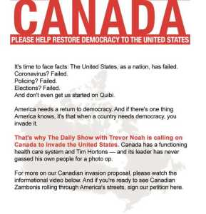 Canada invade US petition