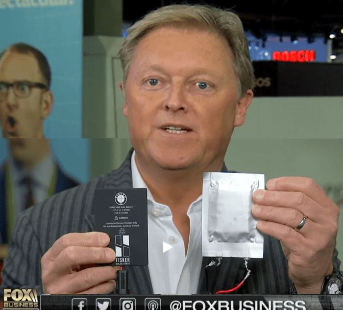 Herick Fisker Shows Solid State Battery in 2018 on Fox Business Network