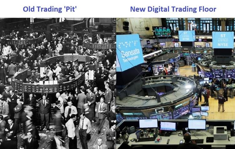 stock exchange old trading pit vs new digital trading floor