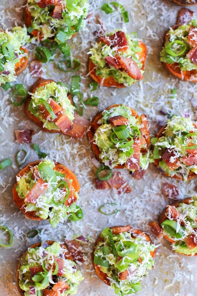 Roasted Sweet Potato Rounds with Guacamole and Bacon by The Roasted Root