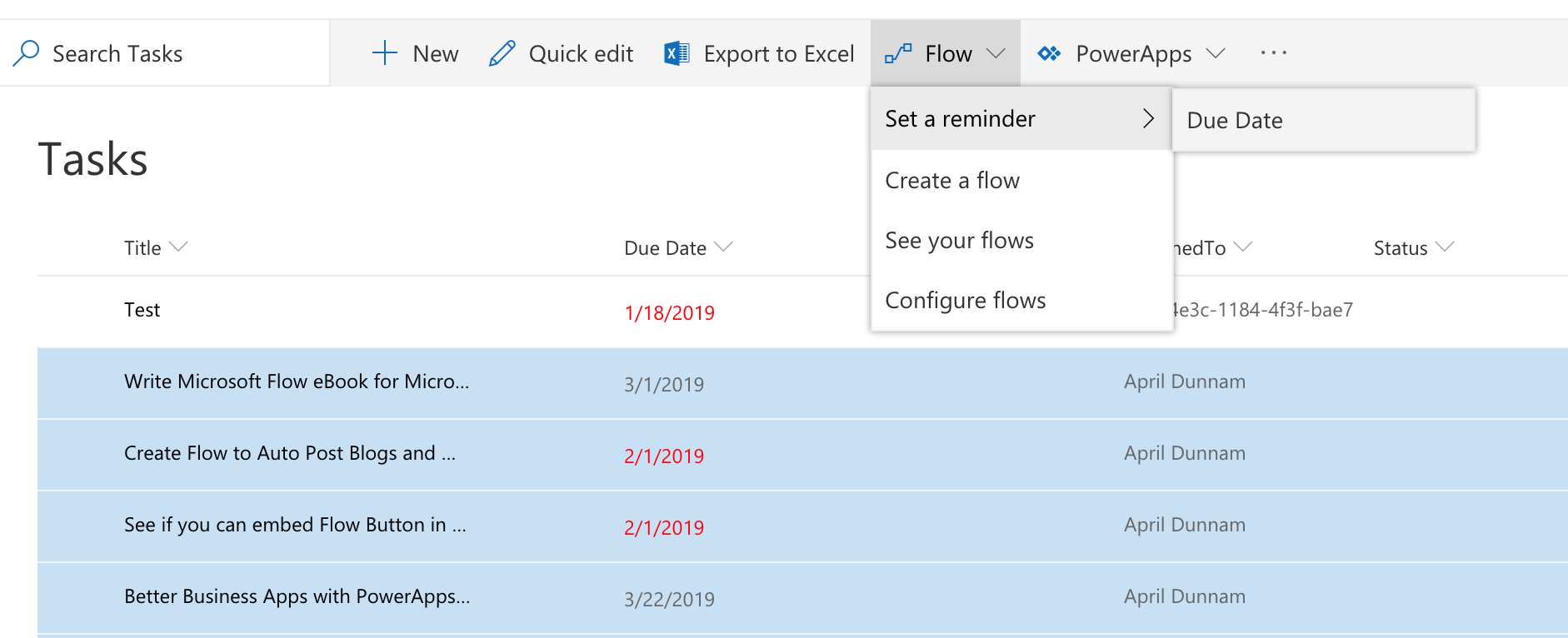 Using the New Set a Reminder Flow for SharePoint | April