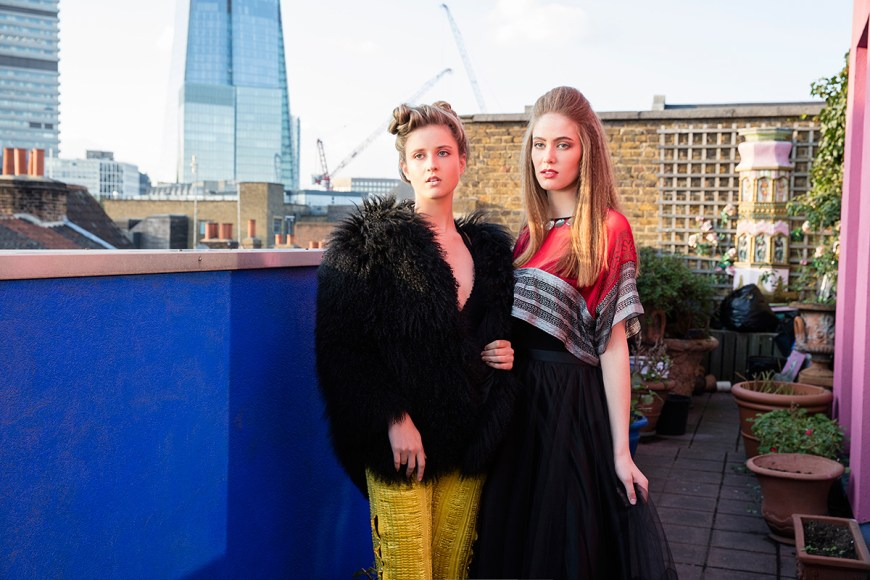 London Calling photoshoot on the rooftop at famous designer and Dame Zandra Rhodes Textile Museum and flat in London.