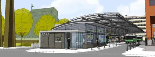 The new CCTA transit center in Burlington, opening in the Fall
