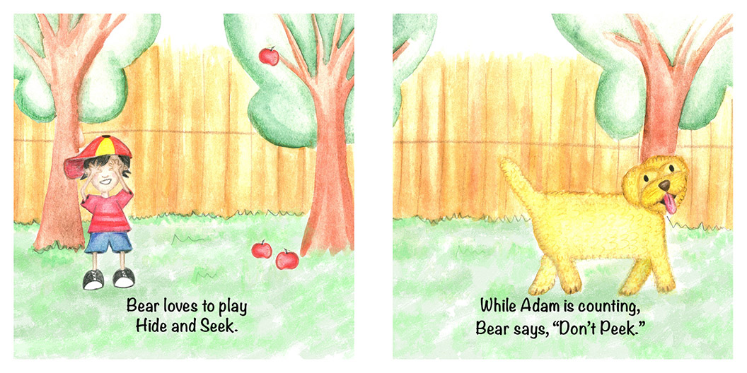Bear and Adam play hide and seek