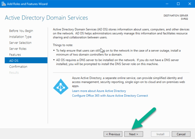 Active Directory Domain Services page