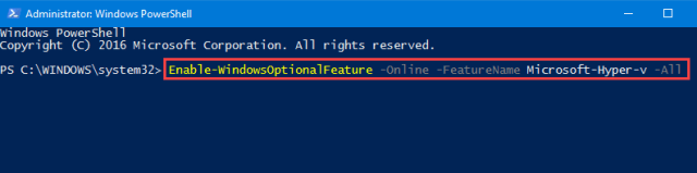 Enable Hyper-v feature