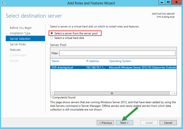 Select a server from server pool