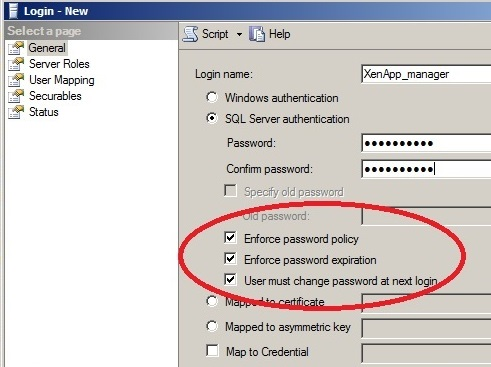 SQL User Service Account - Change Password at 1st Logon