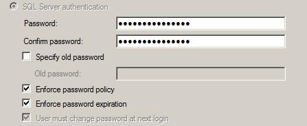 SQL User Service Account - Change Password at 1st Logon