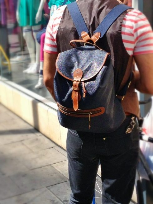 Mulberry Scotchgrain Leather Backpack   Navy and Brown