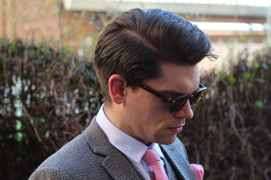 Wedding-Formal-Wear-Robin-James-The-Utter-Gutter-Brown-Dogstooth-Slim-Fit-Suit-Wayfarer-Sunglasses-Tort