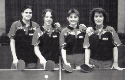 1996 - 1. Damenmannschaft von links nach rechts: Karin Pilz, Agnes Herzberg, Heike Schmidt, Daniela Frei